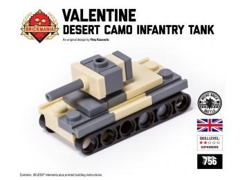 Micro Brick Battle - Valentine (Desert Camo) Micro Tank