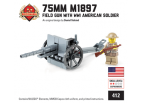 75mm M1897 Field Gun with WW1 American Soldier Minifigure
