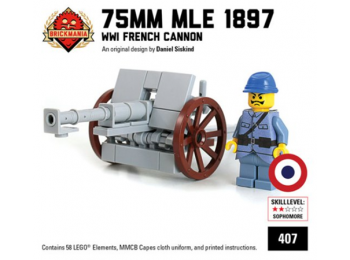 75mm Mle 1897 - WW1 French Cannon with French Soldier