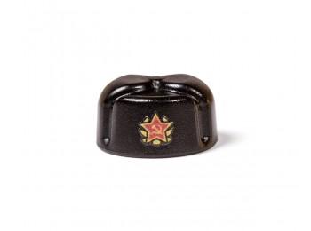 Ushanka with Printed Soviet Insignia - Black
