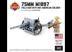 75mm M1897 Field Gun with WW1 American Soldier